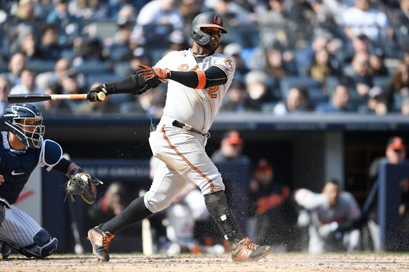 NEW YORK, NEW YORK - MARCH 28: Jonathan Villar #2 of the Baltimore Orioles bats during the sixth inning of the game against the New York Yankees during Opening Day at Yankee Stadium on March 28, 2019 in the Bronx borough of New York City. (Photo by Sarah Stier/Getty Images)