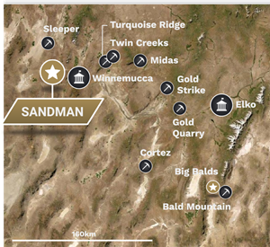 Regional location map of Sandman Project
