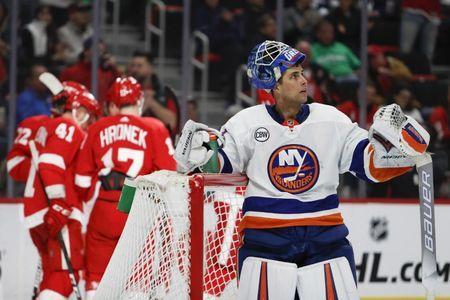Mar 16, 2019; Detroit, MI, USA; New York Islanders goaltender Thomas Greiss (1) reacts after a goal by Detroit Red Wings center Andreas Athanasiou (not pictured) during the second period at Little Caesars Arena. Mandatory Credit: Raj Mehta-USA TODAY Sports