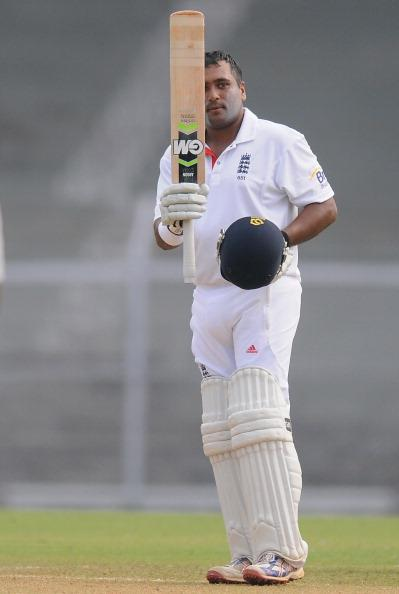 MUMBAI, INDIA - NOVEMBER 01:  Samit Patel of England raises his bat towards the dressing room after scoring a century during the final day of the first practice match between England and India 'A' at the CCI (Cricket Club of India) ground, on November 1, 2012 in Mumbai, India.  (Photo by Pal Pillai/Getty Images)