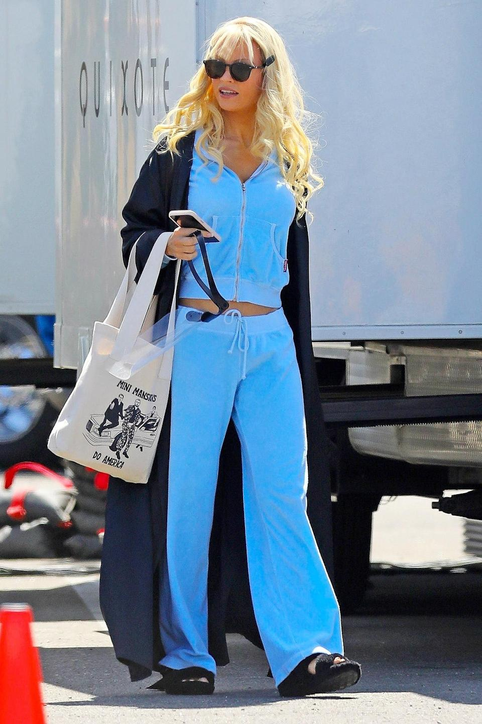 <p>Another day, another costume for Lily James, who hits the set of <em>Pam and Tommy</em> in L.A. on Wednesday. </p>