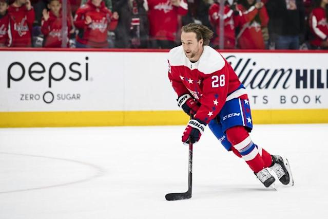 Brendan Leipsic is being placed on unconditional waivers by the Washington Capitals after his vulgar group chat comments were made public (AFP Photo/Scott Taetsch)