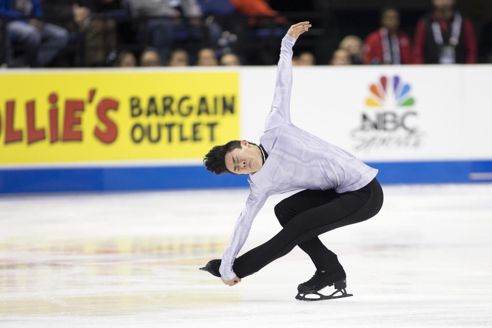FILE - In this Jan. 25, 2020, file photo, Nathan Chen performs during the senior men's short program at the U.S. Figure Skating Championships in Greensboro, N.C. When U.S. skaters and a few foreigners training in this country kick off the season at Skate America this weekend, it could be a rare opportunity to display their wares. So they will relish the chance to get on the ice for competition, knowing that two Grand Prix series events and the Grand Prix Final have been canceled due to the coronavirus pandemic, and prospects of national and word championships being held are uncertain.(AP Photo/Lynn Hey, File)