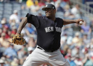 New York Yankees starting pitcher CC Sabathia delivers during the second inning of a baseball spring exhibition game against the Philadelphia Phillies, Thursday, March 1, 2018, in Clearwater, Fla. (AP Photo/Lynne Sladky)