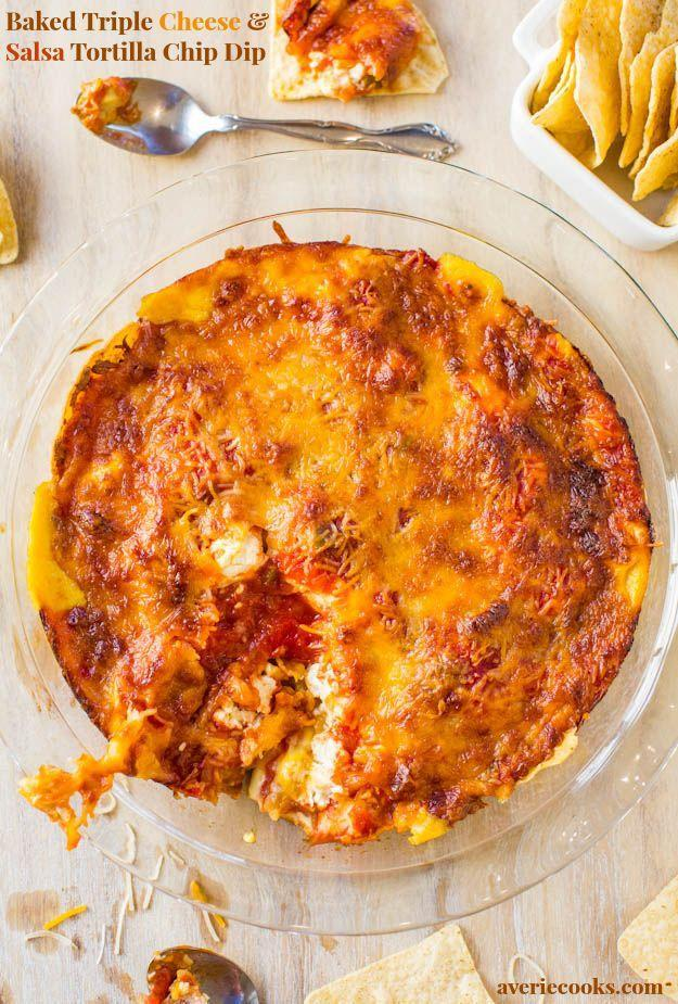 "<p>Ooey, gooey and fresh out of the oven, it's going to be hard for guests to resist this triple cheese layered dip. </p><p><strong>Get the recipe at <a href=""http://www.averiecooks.com/2013/12/baked-triple-cheese-and-salsa-tortilla-chip-dip.html"" rel=""nofollow noopener"" target=""_blank"" data-ylk=""slk:Averie Cooks"" class=""link rapid-noclick-resp"">Averie Cooks</a>.</strong> </p>"