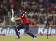 England's Dawid Malan, bats during the first Twenty20 cricket match between India and England in Ahmedabad, India, Friday, March 12, 2021. (AP Photo/Aijaz Rahi)