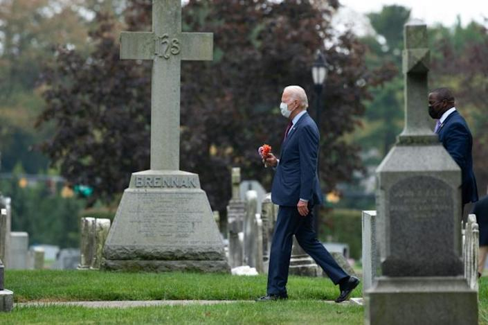 Joe Biden is seen on September 27, 2020 visiting the Catholic cemetery outside Wilmington, Delaware where several of his family members are buried