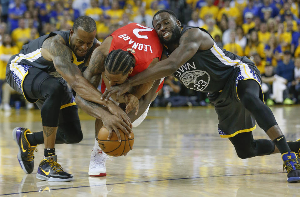 Andre Iguodala, left and Draymond Green fought like champions playing in their fifth straight NBA Finals (Getty)