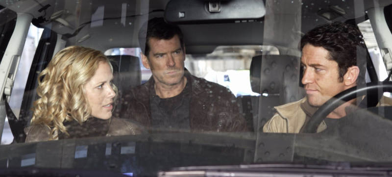 Maria Bello, Pierce Brosnan and Gerard Butler in Butterfly on a Wheel. (Icon)
