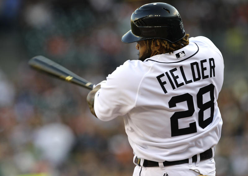 Detroit Tigers' Prince Fielder hits a RBI double against the Pittsburgh Pirates in the first inning of an interleague baseball game, Friday, May 18, 2012, in Detroit. (AP Photo/Paul Sancya)