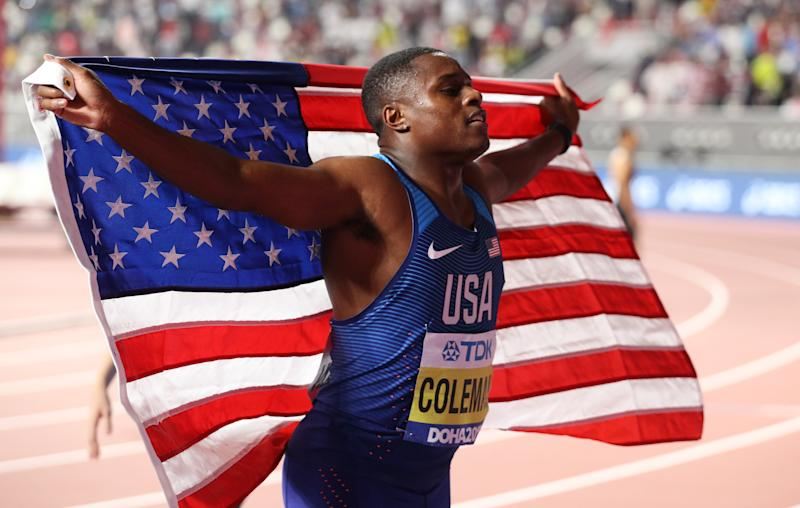 DOHA, QATAR - SEPTEMBER 28: Christian Coleman of the United States celebrates winning gold in the Men's 100 Metres final during day two of 17th IAAF World Athletics Championships Doha 2019 at Khalifa International Stadium on September 28, 2019 in Doha, Qatar. (Photo by Patrick Smith/Getty Images)