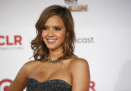 """Actress Jessica Alba arrives at the ALMA Awards in Santa Monica, Calif., Saturday, Sept. 10, 2011. The 2011 NCLR ALMA Awards are held to honor those who promote """"fair, accurate and balanced"""" portrayals of Latinos in the entertainment industry. (AP Photo/Jason Redmond)"""