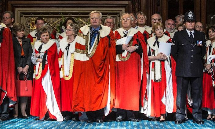 A police officer stands with members of the House of Lords ahead of the State Opening of Parliament on May 27, 2015 (AFP Photo/Richard Pohle)