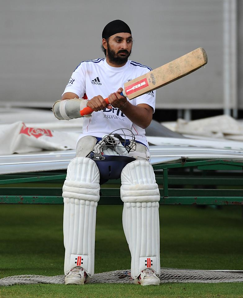 MANCHESTER, ENGLAND - JULY 30: Monty Panesar of England looks on during an England Nets Session at Old Trafford on July 30, 2013 in Manchester, England. (Photo by Chris Brunskill/Getty Images)