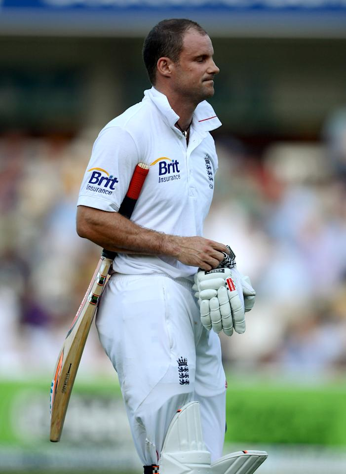LONDON, ENGLAND - AUGUST 19:  England captain Andrew Strauss leaves the field after being trapped LBW by Vernon Philander of South Africa during day four of 3rd Investec Test match between England and South Africa at Lord's Cricket Ground on August 19, 2012 in London, England.  (Photo by Gareth Copley/Getty Images)