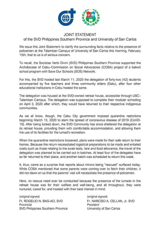 Statement from University of San Carlos