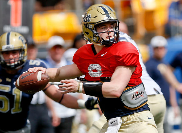FILE - In this April 14, 2018, file photo, Pittsburgh quarterback Kenny Pickett (8) plays in their annual NCAA intrasquad football spring Blue Gold game, in Pittsburgh. Pickett is one of the players poised to break out once ACC teams begin preseason camp over the summer. (AP Photo/Keith Srakocic, File)