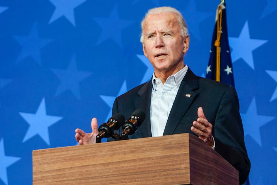 WILMINGTON, DE - NOVEMBER 5: Former Vice President and presidential nominee Joe Biden addresses reporters on November 5, 2020 in Wilmington, Delaware. (Photo by Demetrius Freeman/The Washington Post via Getty Images)