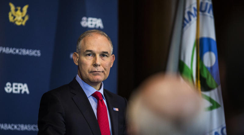 Then-Environmental Protection Agency Administrator Scott Pruitt speaking to the press on April 2.