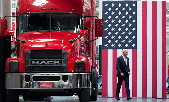 """""""Buy American has become a hollow promise,"""" President Joe Biden said after touring a Mack Trucks facility Wednesday in Macungie, Pennsylvania.""""My administration is going to make Buy American a reality."""""""