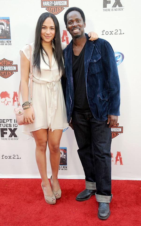 "Harold Perrineau and daughter Aurora Perrineau attend the ""Sons of Anarchy"" Season 5 premiere screening at Westwood Village on September 8, 2012 in Los Angeles, California."