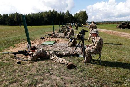 NATO eFP battlegroup soldiers attend a sniper shooting competition in Rukla