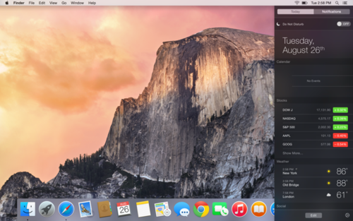 OS X Yosemite Today view