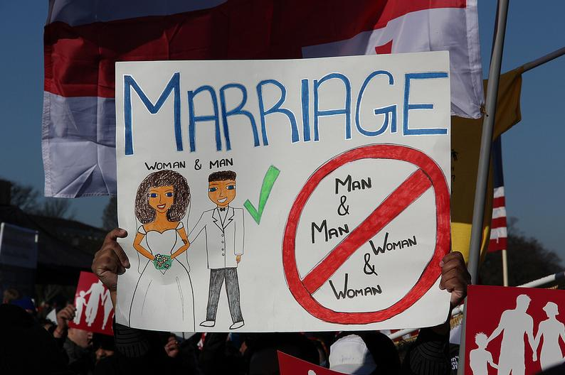 Demonstrators outside the Supreme Court on Tuesday, March 26 during gay marriage hearings. (Chris Moody/Yahoo News)
