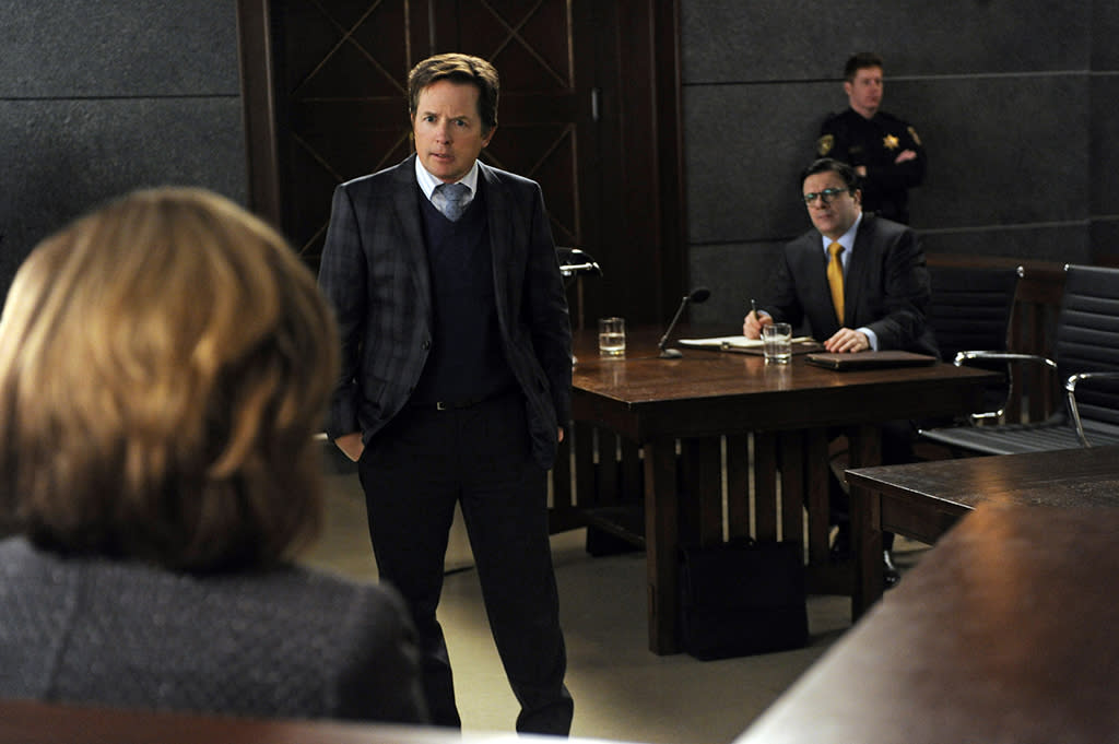 """The Seven Day Rule"" -- When Clarke (Nathan Lane) decides that the Will and Diane are hurting his efforts to erase the firm's debts, he and Louis Canning (Michael J. Fox), the firm's new creditor, take them to court to argue against an extension of their deadline to pay off the debts, on ""The Good Wife."""