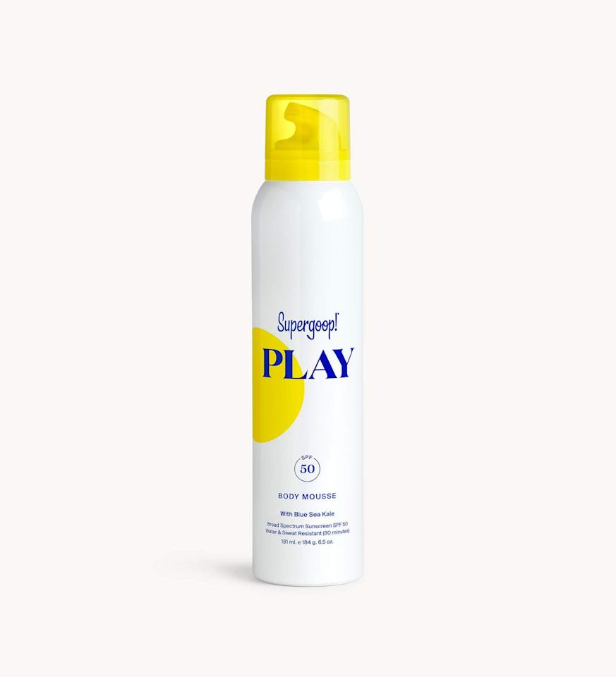 """<p>Try the <product href=""""https://supergoop.com/products/super-power-sunscreen-mousse"""" target=""""_blank"""" class=""""ga-track"""" data-ga-category=""""internal click"""" data-ga-label=""""https://supergoop.com/products/super-power-sunscreen-mousse"""" data-ga-action=""""body text link"""">PLAY Body Mousse SPF 50 with Blue Sea Kale</product> ($34) for a refreshing application.</p>"""