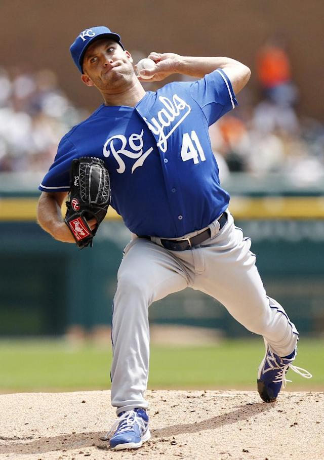 Kansas City Royals pitcher Danny Duffy pitches against the Detroit Tigers in the first inning of the first game of a doubleheader baseball game Friday, Aug. 16, 2013, in Detroit. (AP Photo/Duane Burleson)