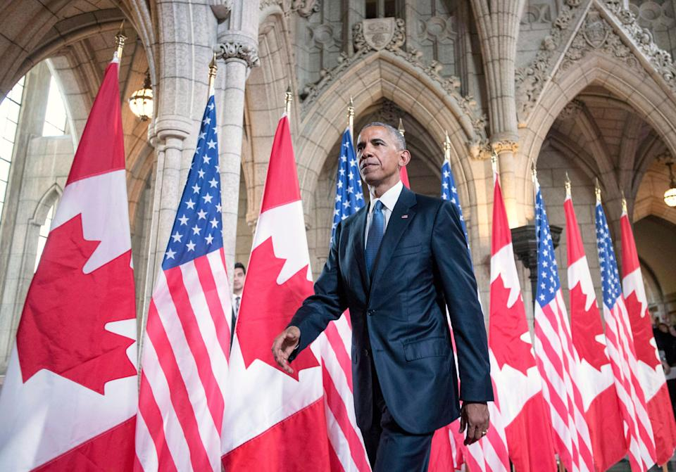 Barack Obama leaves Parliament Hill after addressing the Canadian Parliament in the House of Commons on June 29, 2016.  (Photo: Justin Tang/CP)