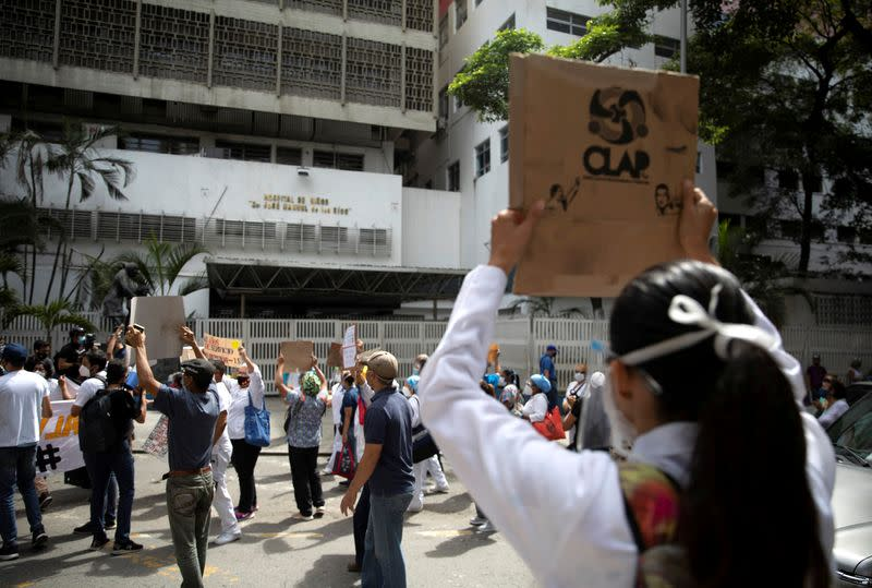 FILE PHOTO: Healthcare workers protest against low wages in Caracas