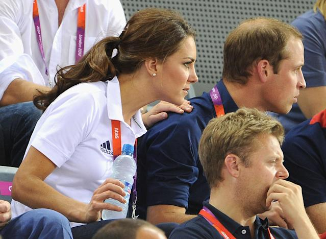 Catherine, Duchess of Cambridge and Prince William, Duke of Cambridge look on during Day 6 of the London 2012 Olympic Games at Velodrome on August 2, 2012 in London, England. (Photo by Pascal Le Segretain/Getty Images)