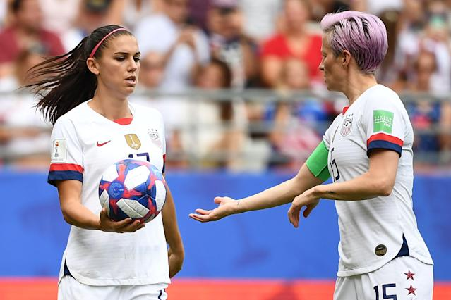 Megan Rapinoe and Alex Morgan are tied for the scoring lead at the FIFA Women's World Cup along with Ellen White of England, who the Americans will face in Tuesday's semifinal in Lyon. (Franck Fife/AFP/Getty)
