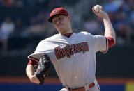 Arizona Diamondbacks pitcher Patrick Corbin delivers to the New York Mets during the first inning of a baseball game Saturday, July 11, 2015, at Citi Field in New York. (AP Photo/Bill Kostroun)