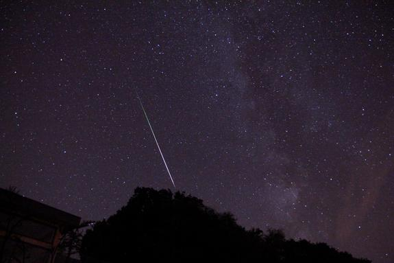 Stargazer David Firstbrook captured this photo of a Persed meteor on Aug. 11, 2013 from near Yarmouth on the Isle of Wight. This image is one of 560 photos taken by Firstbrook, but the only one to turn out well, Firstbrook told SPACE.com.