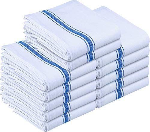 """<p><strong>Utopia Towels</strong></p><p>amazon.com</p><p><strong>$15.99</strong></p><p><a href=""""https://www.amazon.com/dp/B00JCG1V42?tag=syn-yahoo-20&ascsubtag=%5Bartid%7C10055.g.36124413%5Bsrc%7Cyahoo-us"""" rel=""""nofollow noopener"""" target=""""_blank"""" data-ylk=""""slk:Shop Now"""" class=""""link rapid-noclick-resp"""">Shop Now</a></p><p>This brand makes it on our list again because it has over 9,900 reviews on Amazon and they are very popular to use in restaurant kitchens. According to shoppers, these aren't the fluffiest or softest towels but they are very <strong>durable and stand up well to washing make them great to use over and over. </strong> Buyers use these to wipe spills, dry washed vegetables and even as reusable paper towels. These aren't the fanciest towels but they come in a pack of 12 and are lower in price so if one gets permanently stained there are still others for backup.</p>"""