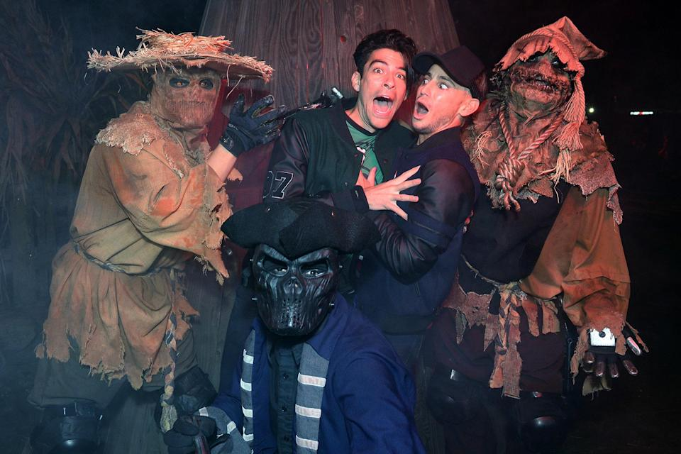 <p>sticking together at Knott's Scary Farm in Buena Park, California, on Sept. 26.</p>
