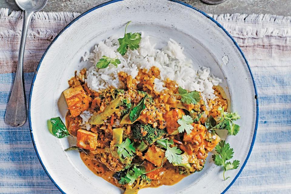 """Pan-fry the paneer in this recipe from Anjali Pathak's <a href=""""https://bookshop.org/books/the-indian-family-kitchen-classic-dishes-for-a-new-generation-a-cookbook/9780804188265"""" rel=""""nofollow noopener"""" target=""""_blank"""" data-ylk=""""slk:The Indian Family Kitchen"""" class=""""link rapid-noclick-resp""""><em>The Indian Family Kitchen</em></a> before stirring it through the masala to add a bit of texture and encourage it to soak up even more flavor. <a href=""""https://www.epicurious.com/recipes/food/views/paneer-and-broccoli-masala?mbid=synd_yahoo_rss"""" rel=""""nofollow noopener"""" target=""""_blank"""" data-ylk=""""slk:See recipe."""" class=""""link rapid-noclick-resp"""">See recipe.</a>"""