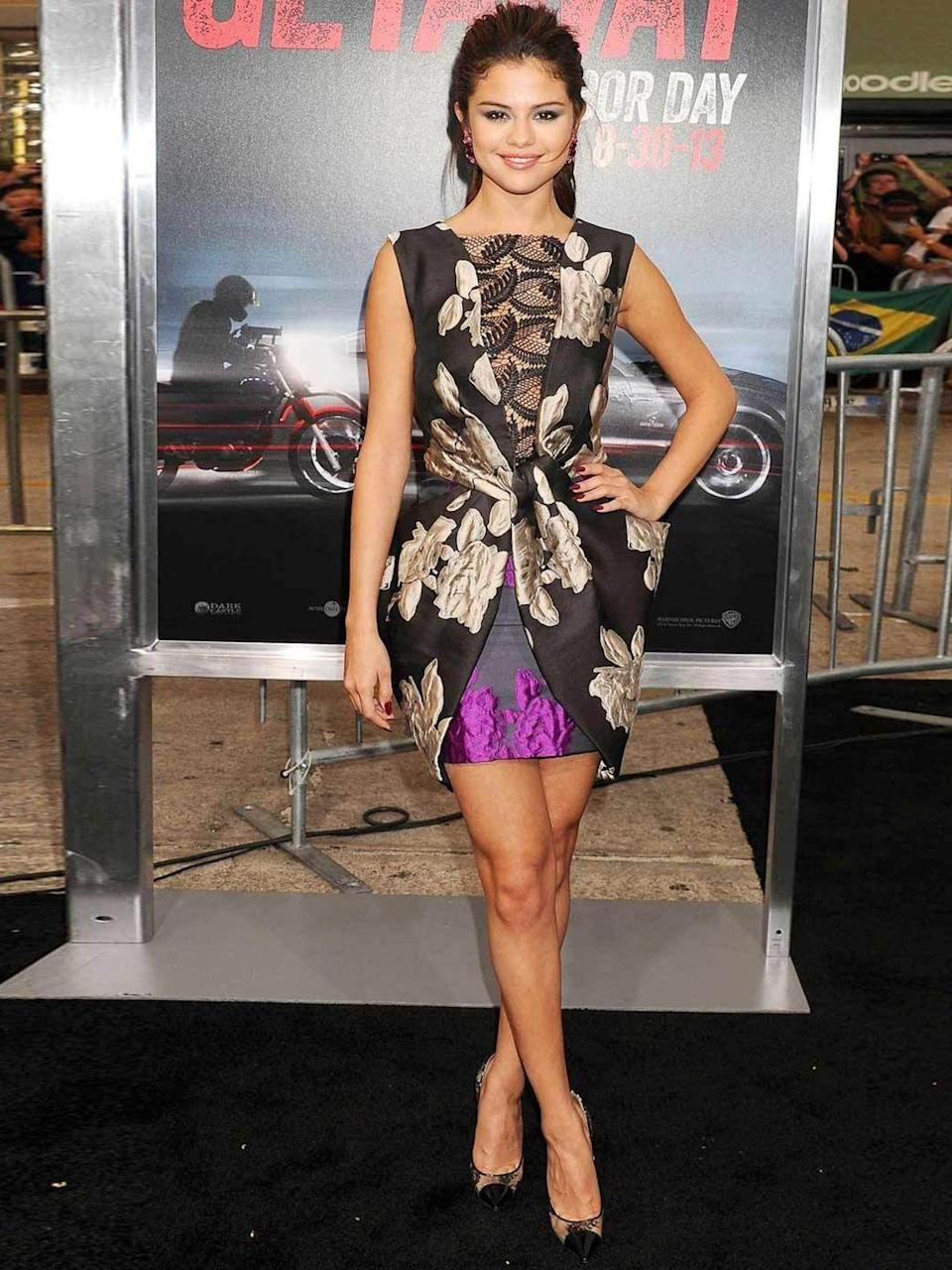 <p>Selena Gomez in a Vera Wang dresses attends the Getaway premiere, August 2013.</p>