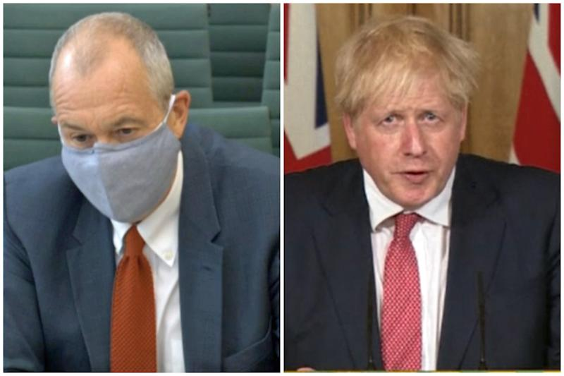 Different stances: Sir Patrick Vallance and Boris Johnson.