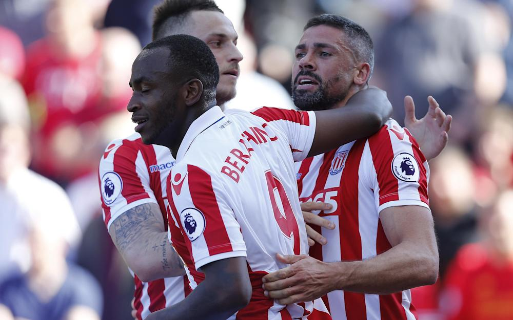 Goal celebration by Stoke City player Jonathan Walters during the Premier League Match between Stoke City and Liverpool - Credit: PPAUK/REX/Shutterstock