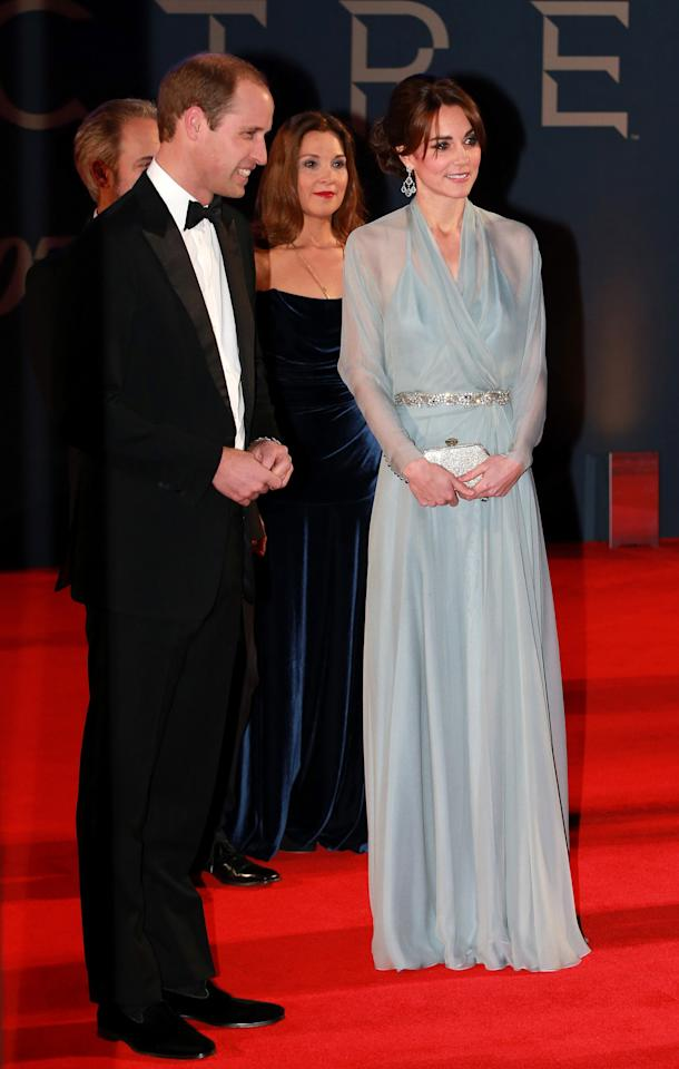 <p>For the 2015 premiere of 'Spectre', the Duchess of Cambridge donned a powder blue dress by Jenny Packham (durr). <em>[Photo: Getty]</em> </p>
