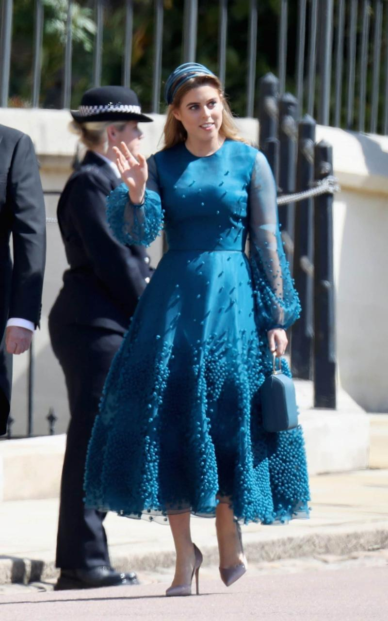 Princess Beatrice wearing Roksanda at Prince Harry's wedding to Meghan Markle - Getty