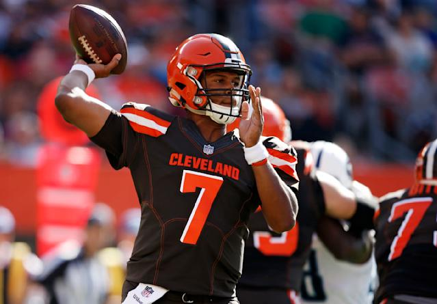 Cleveland Browns quarterback DeShone Kizer was benched for the second straight week in Sunday's 12-9 overtime loss to the Titans. (AP)