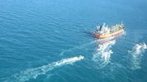 A South Korean-flagged tanker vessel which was seized by Iran. is seen in Gulf