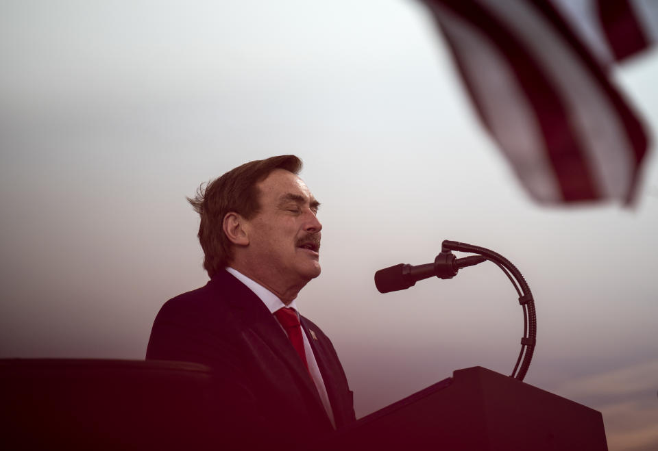 DULUTH, MN - SEPTEMBER 30: Michael Lindell, CEO of MyPillow Inc., speaks during a campaign rally for President Donald Trump at the Duluth International Airport on September 30, 2020 in Duluth, Minnesota. The rally is Trump's first after last night's Presidential Debate. (Photo by Stephen Maturen/Getty Images)
