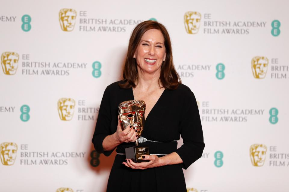 Lucasfilm president Kathleen Kennedy poses with her BAFTA Fellowship award on February 2, 2020. (Photo by Adrian Dennis/AFP via Getty Images)