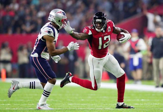 Mohamed Sanu's living the right kind of in-flight life. (Getty)